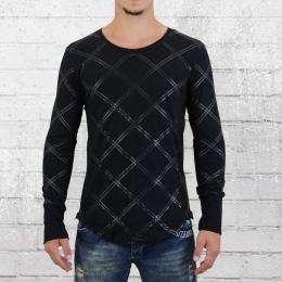 True Prodigy Männer Longsleeve Zip Shirt Raute schwarz
