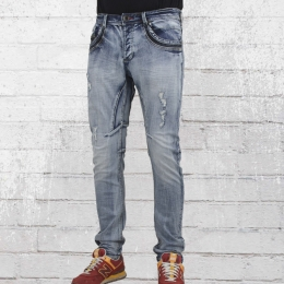 Trueprodigy Männer Röhren Jeanshose Vex hellblau gewaschen