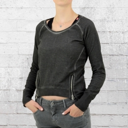 Trueprodigy Sweatshirt Damen Double Zip Oil Washed dunkelgrau