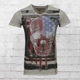 Trueprodigy T-Shirt Herren US Skull vintage grau