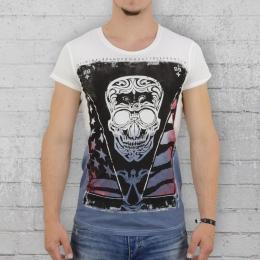 Trueprodigy T-Shirt Männer Skull weiss blau