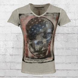 Trueprodigy V-Ausschnitt T-Shirt Männer US Skull vintage grau