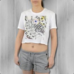 Converse Damen T-Shirt Studded Chucks Crop Tee weiss
