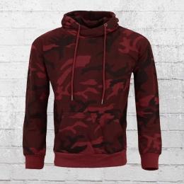 Urban Classics Männer Kapuzensweatshirt rot camouflage