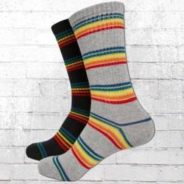 Urban Classics Strümpfe Rainbow Stripes 2er Pack schwarz grau