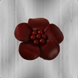 Veilchen mit Perlen Lederblume Anstecker burgund