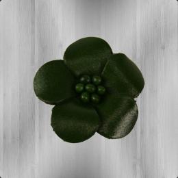 Veilchen mit Perlen Anstecker aus Leder grün