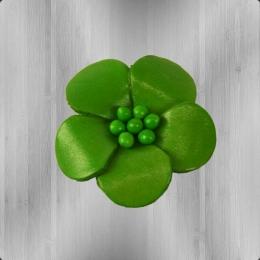 Veilchen mit Perlen Anstecker aus Leder hellgrün