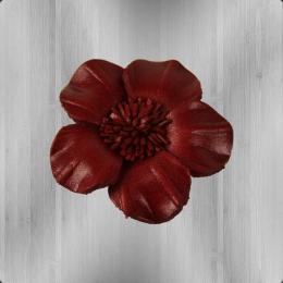 Veilchen Lederblume zum Anstecken burgund