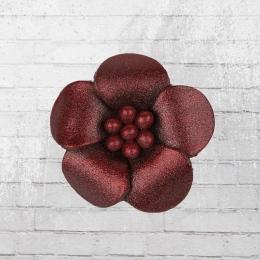 Veilchen mit Perlen Lederblume Anstecker dunkelrot