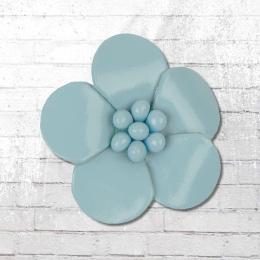 Veilchen mit Perlen zum Anstecken Lederblume light blue