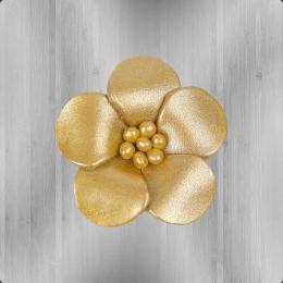 Veilchen mit Perlen Anstecker aus Leder gold