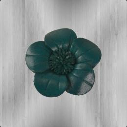 Veilchen zum Anstecken Blume aus Leder petrol
