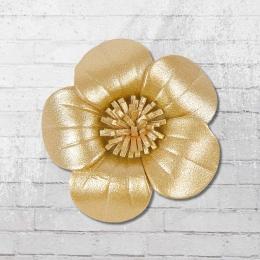 Veilchen zum Anstecken Lederblume gold