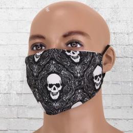 Viper Motiv Maske Totenkopf schwarz weiss