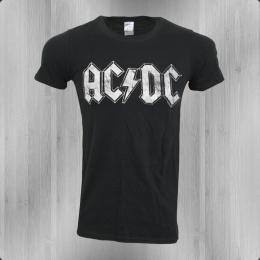 AC DC Herren Bandshirt White Logo schwarz