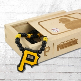 Wood Fellas MLB Team Necklace Pittsburgh Pirates Kette schwarz gelb
