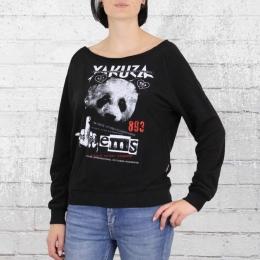 Yakuza Damen Pullover Panda Wide Crew Neck Sweater schwarz