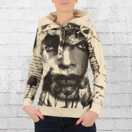 Yakuza Frauen Kapuzensweater Face Allover 9147 creme