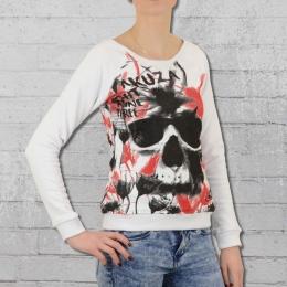 Yakuza Frauen Skull Allover Sweater GSB 9119 weiss