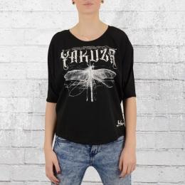 Yakuza Frauen T-Shirt Dragon Fly Batwing Top 9122 schwarz