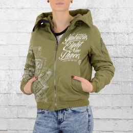 Yakuza Frauen Winterjacke Inked in Blood Bomber 9141 oliv