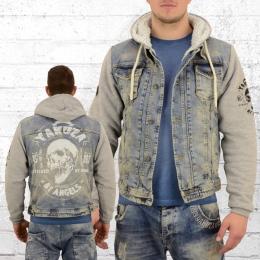 Yakuza Herren Jeans Jacke mit Fell Devils Teddy 11051 vintage hellblau