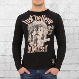 Yakuza Herren Longsleeve T-Shirt Just Believe schwarz