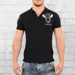 Yakuza Herren Polo Shirt Happy Hour schwarz