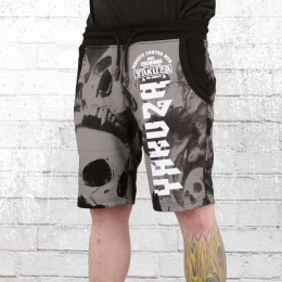 Yakuza Herren Sweat Shorts Muerte Skull V02 schwarz