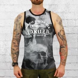 Yakuza Herren Tank Top Muskelshirt Muerte Skull schwarz grau