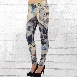 Yakuza Leggings Butterfly 10138 weiss bunt