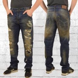 Yakuza Männer Jeans Hose Skeleton Loose bronze