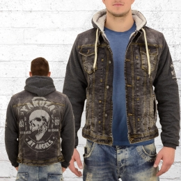 Yakuza Männer Jeans Jacke mit Fell Devils Teddy 11051 vintage schwarz