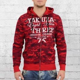 Yakuza Männer Kapuzenjacke Jesus or Cocaine HZB 9028 rot camo