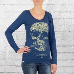 Yakuza Premium Damen Longsleeve T-Shirt Floral Skull 2143 blau