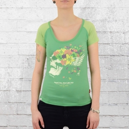 Yakuza Premium Ladies T-Shirt Flower Skull green