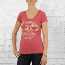 Yakuza Premium Damen T-Shirt Indian Skull rot meliert