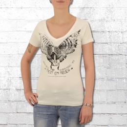Yakuza Premium Damen V-Neck T-Shirt Moth Skeleton 2336 weiss