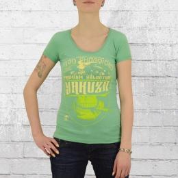 Yakuza Premium Frauen T-Shirt Cigar Skull 2231 grün