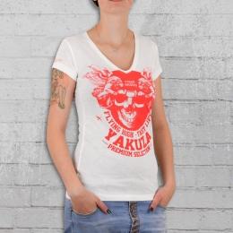 Yakuza Premium Frauen T-Shirt Royal Skulls GS 2138 weiss