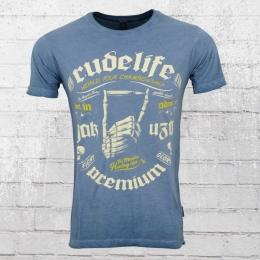 Yakuza Premium Herren T-Shirt Bullet Hand vintage blau