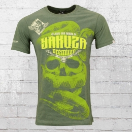 Yakuza Premium Herren T-Shirt Skull Snake olive melange