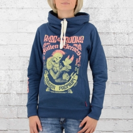 Yakuza Premium Hoody Ladies Hooded Sweater Dove Skull blue