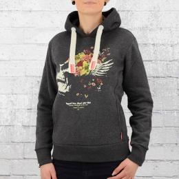Yakuza Premium Frauen Kapuzensweater Flower Skull grau