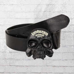 Yakuza Premium Ledergürtel Skull Schnalle schwarz