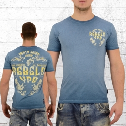 Yakuza Premium Männer Oil Washed T-Shirt Rebels vintage blau
