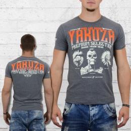 Yakuza Premium Männer T-Shirt Three Logo YPS 2114 grau