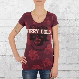 Yakuza Premium T-Shirt Damen Worry Dolls GS 2144 weinrot