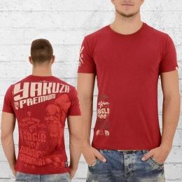 Yakuza Premium T-Shirt Herren Rebels 2311 dunkel rot XXL